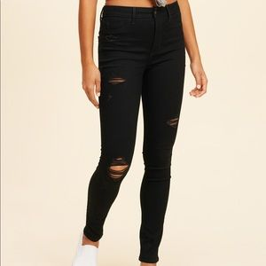 Hollister black high rise cropped distressed jeans